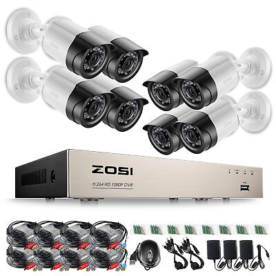 ZOSI Firm Shell 8CH 1080P 2MP 3000TVL Home CCTV Security Camera System TVI+GIFT