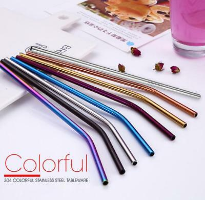 4PCS Stainless Steel Metal Drinking Straw Reusable Straws +Cleaner Brush Kit NEW