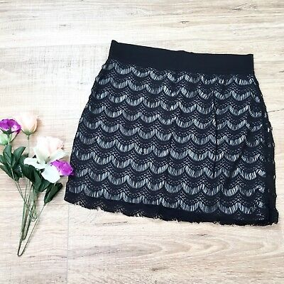 1d678bd8a24f Free People Black Lace Overlay Scalloped Mini Pencil Skirt Size Small