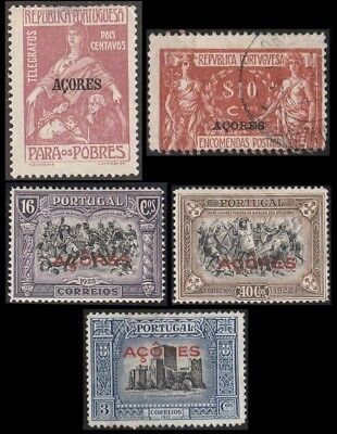 1927-28 Portugal Colonies, Lot of Acores/ Azores Stamps to $10