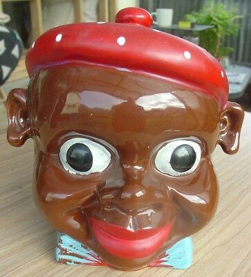 RARE 1940's Black Americana 'Pappy' cookie jar/biscuit barrel
