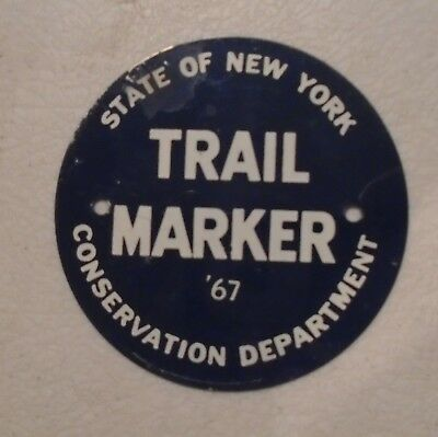 1967 Vintage Tin State Of New York Manmagement Area Trail Marker Hunting Sign