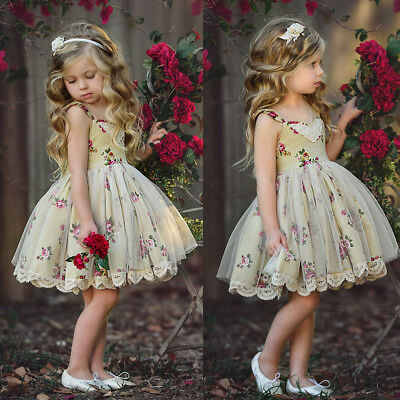 Baby Girls Kids Princess Wedding Flower Party Formal Gown Lace Tulle Dress 1-6T