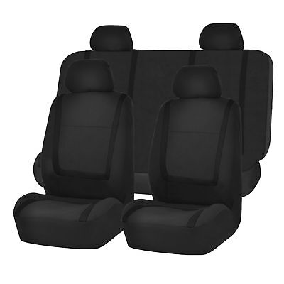 Black PU Leather Car Seat Cover Full Set Front Rear Seat Cushion Mat Protector U