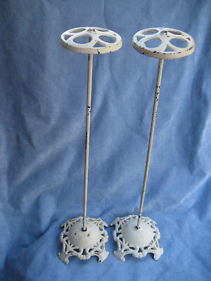 Pair Antique Victorian Cast Iron Ornate Metal Hat Stands Counter Displays 20""