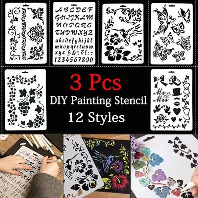 Number Layering Letter Alphabet Stencils Painting Scrapbooking Paper Cards Craft