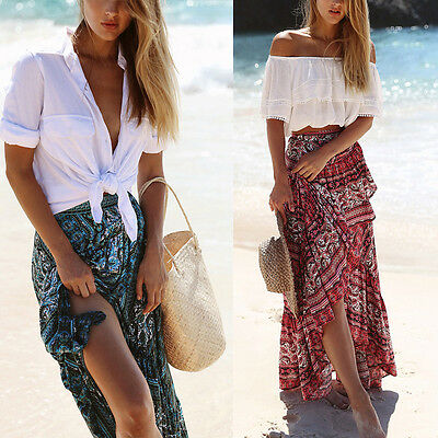 Women Boho Floral Dress Long Dress Full Skirt Beachwear Party Dresses