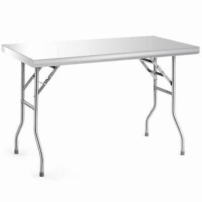 "Stainless Steel Folding Work Table 48"" L x 24"" W 484lbs Capacity Commercial Home"