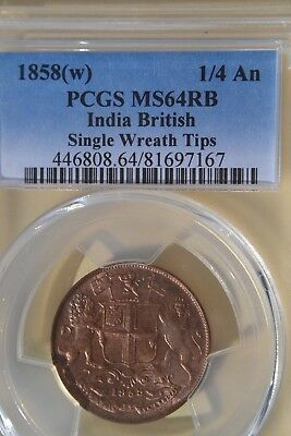 INDIA - East India Company 1/4 Anna Coin 1858  PCGS MS64RB.