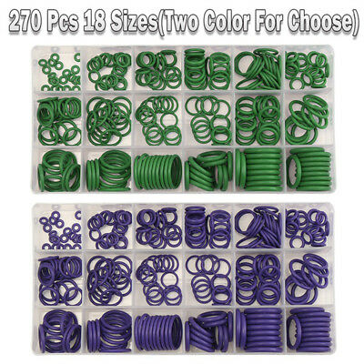 270Pcs 18 Size Car Air Condition R22/R134a O-Ring Seal Rubber Washer Refrigerant