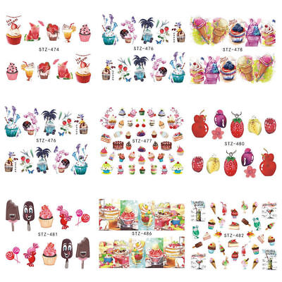 18pcs Summer Fruit Cake Ice-cream Water Transfer Nail Art Sticker Decals Slider