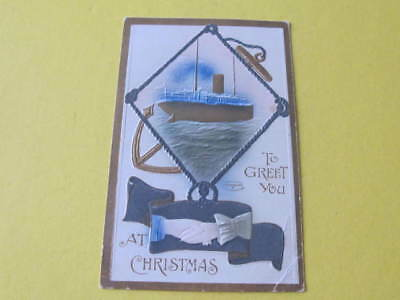 Embossed Ship Hands Across the Sea Postcard
