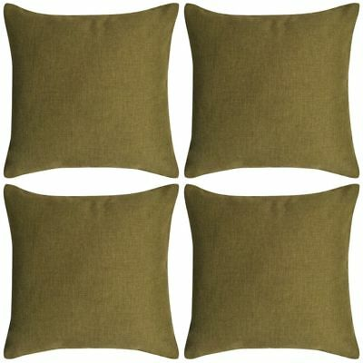 131566 vidaXL Cushion Covers 4 pcs Linen-look Green 80x80 cm - Untranslated