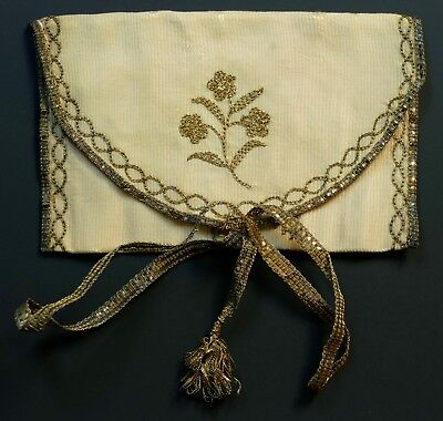 ANTIQUE GEORGIAN SILK PURSE / POCKETBOOK - METAL THREAD EMBROIDERY circa 1800