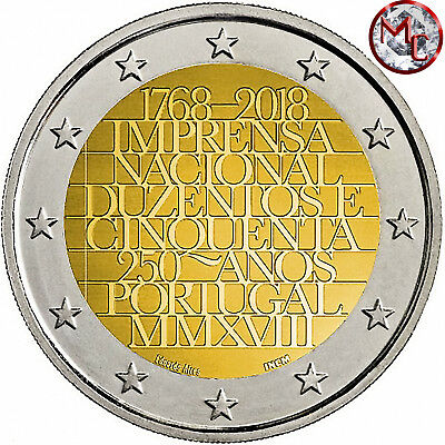 Portugal 2 euro coin 2018 - 250 Years National Printing - UNC