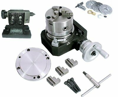 HV4 110 MM Rotary Table+100 mm 3 Jaws chuck with Reversible jaws+Back Plate