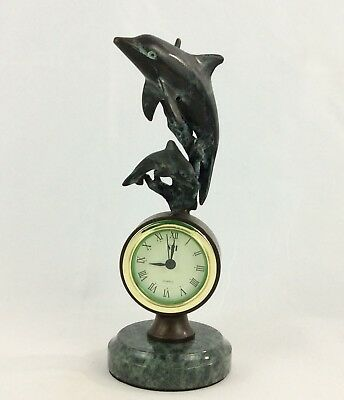 SPI Gallery:Dolphin + Baby Swimming (Clock)Cast In Last Wax Brass On Marble Base