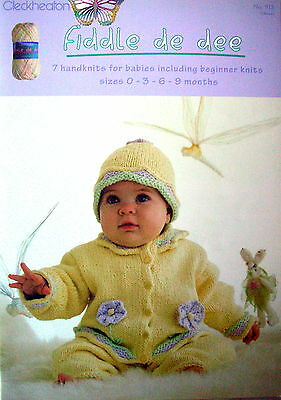 Cleckheaton Knitting Pattern Book - FIDDLE DE DEE - 7 Baby Knits for 0 to 9 Mths