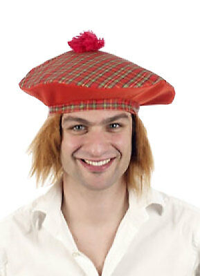 Adult Mens Scottish Fancy Tartan Hat with Ginger Hair Stag Night Party Accessory