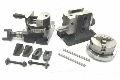 """3""""/80 Mm Rotary Milling Table+80Mm Round Vice Tailstock M6 Clamp Kit 65 Mm 3 Jaw"""