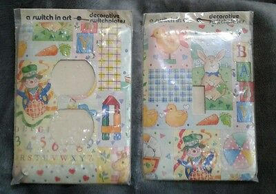 Switch in Art Clown Bunny Switch Plate Outlet Light Cover Nursery Children Set 2