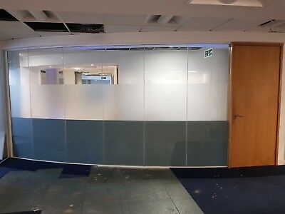 6.79 METRE WIDE GLASS PARTITION WITH 7 x GLASS PANELS, 1 x DOOR & FRAMES £675
