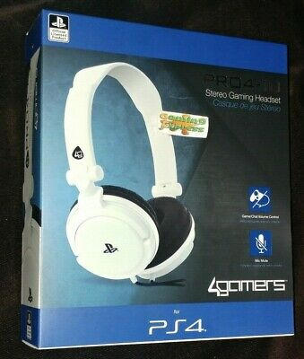 Official White Stereo Chat GAMING Headset Playstation 4 PS4 Vita Pro4 10 NEW