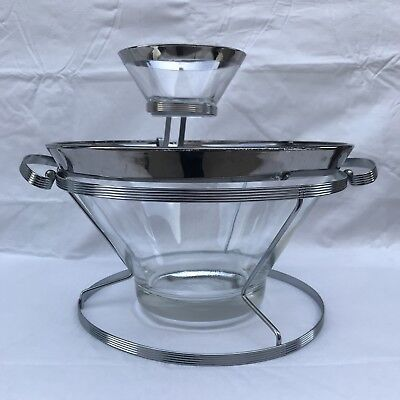 Chip & Dip Set Silver Tone Rim, Stand and Bracket, Mid Century, Retro, Vintage