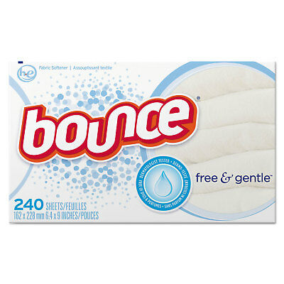 Bounce Free & Gentle Fabric Softener Dryer Sheets Unscented 240/Box 6 Box/Carton