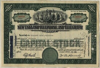 1956 New England Telephone & Telegraph Company Stock Certificate New York