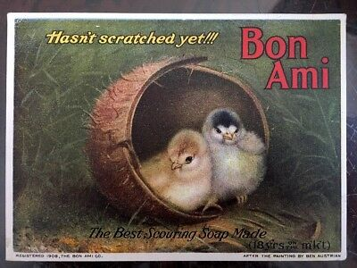 Vintage Trade Card Bon Ami Scouring Soap 1908 Baby Chicks Antique Advertising
