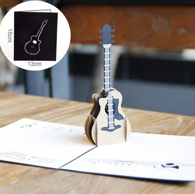 3D Pop Up Card Guitar Music Greeting Holiday Gift Creative New Hot Cards