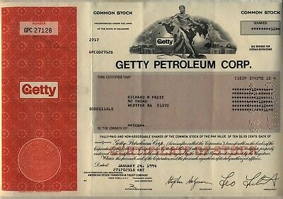 Getty Petroleum Corp. Stock Certificate Oil Gas