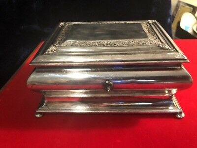 Vintage Wilcox Silver Plate Jewelry / Casket Lined Velvet Box 6405 Must See
