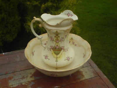 "WASHBASIN & JUG - CROWN DEVON BLUSH IVORY 'ETNA'? - 15.5"" dia Bowl - 13"" Jug"