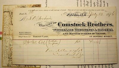 1876 Utica New York  - 2.5 Gal. Of Sperm & Whale Oil - Comstock Brothers Receipt