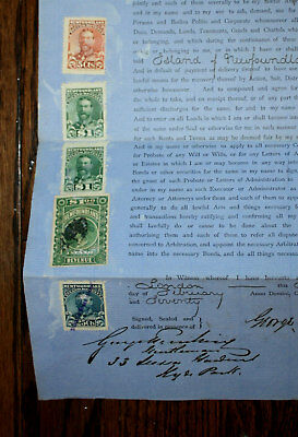 1870 Newfoundland Document - Inland Revenue Stamps - Victorian And King Edward