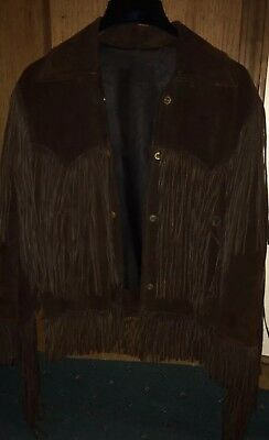 Vintage Womens Suede Fringed Coat