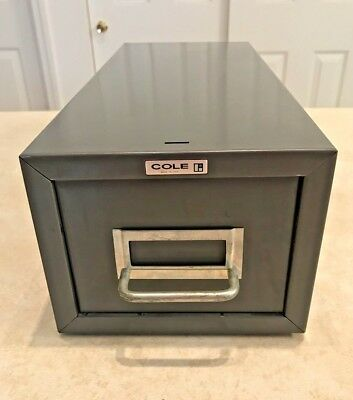 Filing cabinets office furniture office business industrial vintage cole steel metal single drawer card file cabinet malvernweather Gallery