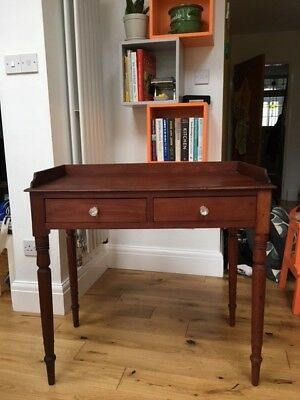 Antique Victorian mahogany writing desk table with gallery back & 2 drawers