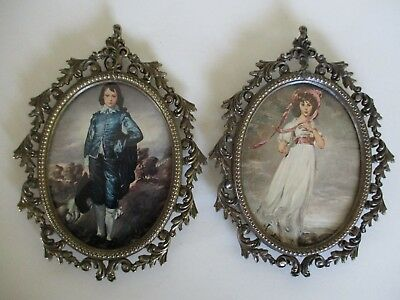 2 Vintage Small Ornate Brass Oval Picture Frames