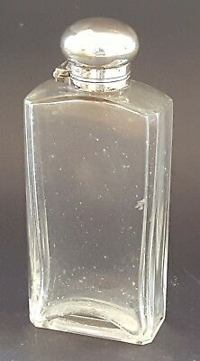 Silver plate electroplate vintage Victorian antique glass hipflask bottle