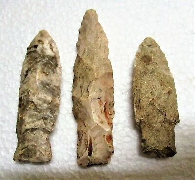 Lot #5 Three Authentic Native American Flint Arrowheads Wisconsin Nice Conditn