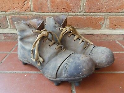 Vintage Leather Rugby Boots with Rubber Cleats - collectable sports item