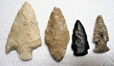 Lot #6 Four Authentic Native American Flint Arrowheads Wisconsin One Large