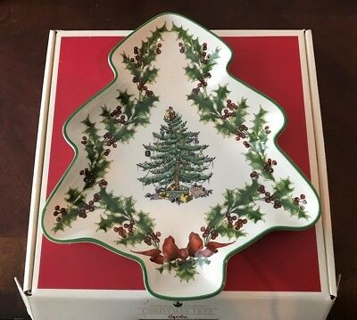 Spode Christmas Tree Tree Shaped Holly Berry Dish Made in England