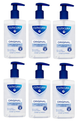 SIX Cuticura ANTI-BACTERIAL HAND GEL 250ml Crisp & Fresh  Cleanse Without Water