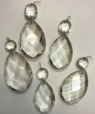 French Clear Crystal Diamond Cut Pear Drop Top Bead Chandelier Prisms MANY SIZES
