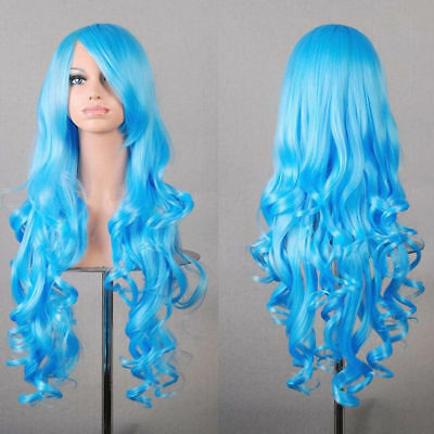 New Womens Blue Long Curly Full Wavy Anime Cosplay Costume Hair Party Wig 80cm