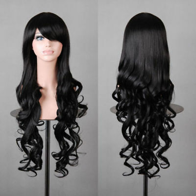New Womens Black Long Curly Full Wavy Anime Cosplay Costume Hair Party Wig 80cm